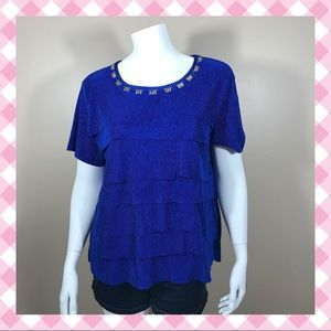 Alfred Dunner Blue Jeweled Blouse